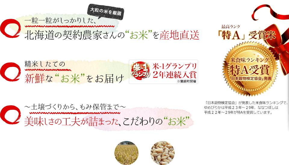 一粒一粒がしっかりした、北海道の契約農家さんのお米、精米したての新鮮なお米をお届け、米食味ランキング特A受賞※(最高ランク)