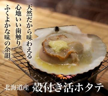 北海道産殻付活ホタテ